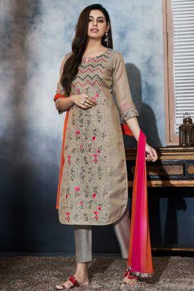 Zari Work Grey Color Art Silk Churidar Dress