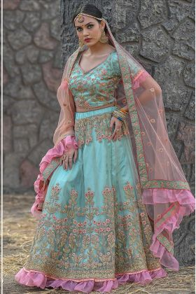 Zari Work Light Sky Blue Color Butterfly Net Wedding Lehenga Choli