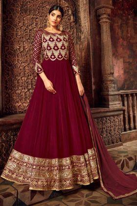Zari Work Maroon Color Georgette Anarkali Salwar Kameez
