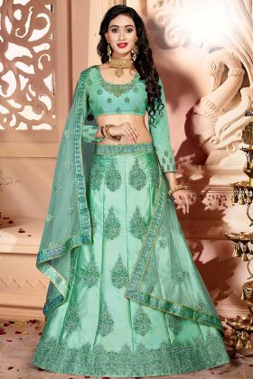 Zari Work Sea Green Satin Silk Lehenga For Wedding