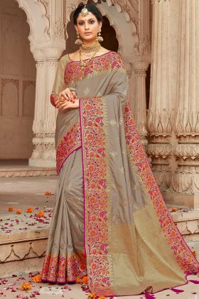 Zari Woven Art Silk Jacquard Festive Saree Beige Color