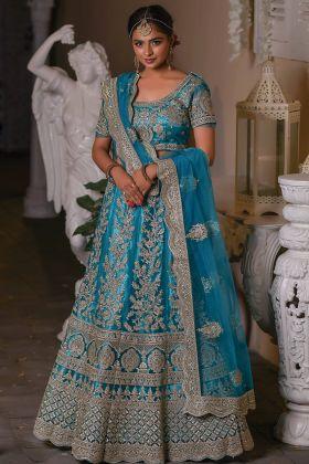 Zarkan Work Sky Blue Color Wedding Wear Lehenga Choli In Net Fabric