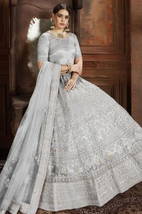 Zarkan Work Grey Color Soft Net Reception Lehenga Choli