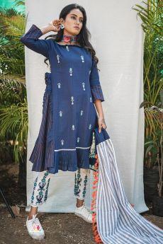 Blue Khadi Designer Kurti