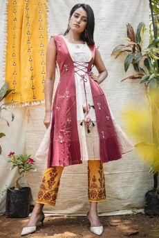 Cream And Maroon Khadi Designer Kurti