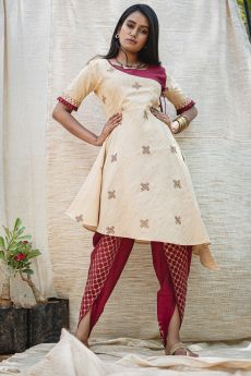 Designer Khadi Readymade Cream Kurti