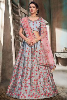 Grey Nylon Satin Lehenga Choli